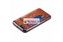 Фирменная роскошная элитная премиальная задняя панель-крышка для Xiaomi Mi 6 из качественной кожи буйвола с визитницей коричневая