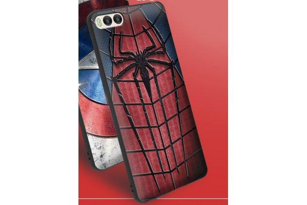 """Фирменная уникальная задняя панель-крышка-накладка из тончайшего силикона для Xiaomi Mi 6 с объёмным 3D рисунком """"Человек-паук"""""""