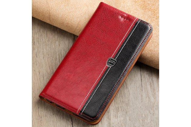 Фирменный чехол-книжка из качественной импортной кожи с мульти-подставкой и визитницей для Xiaomi Mi 6 красный с черной полосой