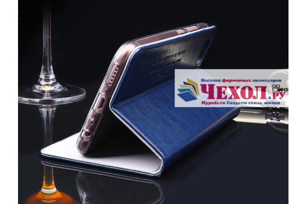 Фирменный чехол-книжка из качественной импортной кожи с мульти-подставкой и визитницей для Xiaomi Mi 6 бордовый