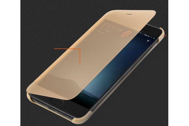 Официальный оригинальный чехол книжка Ice View Case Book Flip Cover для Xiaomi Mi 6 и активной крышкой золотого цвета