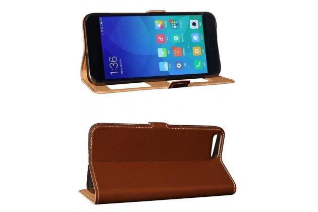 Фирменный чехол-книжка для Xiaomi Mi 6 коричневый кожаный с окошком для входящих вызовов и свайпом