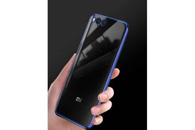 Фирменная ультра-тонкая полимерная из мягкого качественного силикона задняя панель-чехол-накладка для Xiaomi Mi 6 прозрачная с синей рамкой