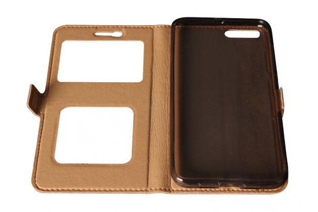 Фирменный чехол-книжка для Xiaomi Mi 6 черный кожаный с окошком для входящих вызовов и свайпом