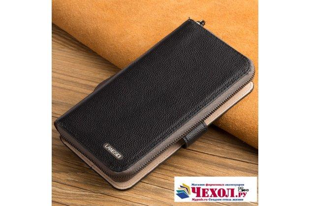 Фирменный чехол-портмоне-клатч-кошелек на силиконовой основе из качественной импортной кожи для Xiaomi Mi Note 2 черный