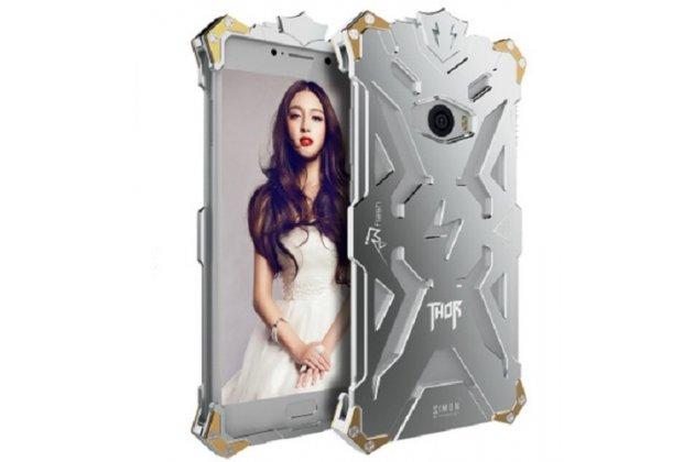 Противоударный металлический чехол-бампер из цельного куска металла с усиленной защитой углов и необычным экстремальным дизайном  для  Xiaomi Mi Note 2 серебристого цвета