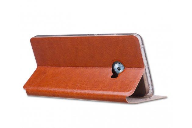 Фирменный чехол-книжка из качественной водоотталкивающей импортной кожи на жёсткой металлической основе для Xiaomi Mi Note 2 коричневый