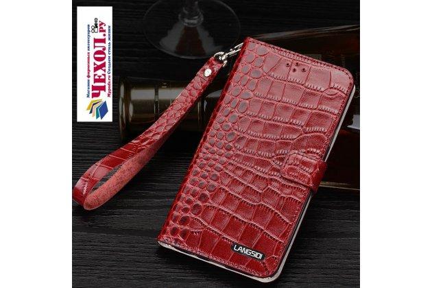 Фирменный роскошный эксклюзивный чехол с фактурной прошивкой рельефа кожи крокодила и визитницей красный для Xiaomi Mi Note 2. Только в нашем магазине. Количество ограничено