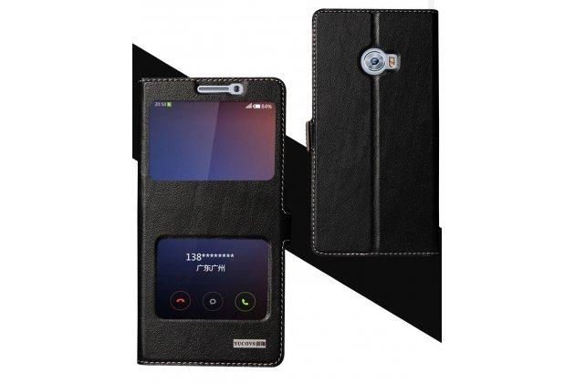 Фирменный чехол-книжка для Xiaomi Mi Note 2 черный с окошком для входящих вызовов и свайпом водоотталкивающий