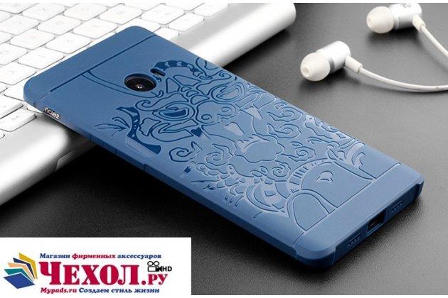 """Фирменная роскошная задняя панель-чехол-накладка  из мягкого силикона с безумно красивым расписным 3D рисунком на Xiaomi Mi Note 2 """"тематика Китайский дракон"""" синяя"""