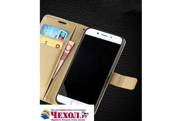 Фирменный чехол-книжка из качественной импортной кожи с подставкой застёжкой и визитницей для Xiaomi Mi Note 2 золотой