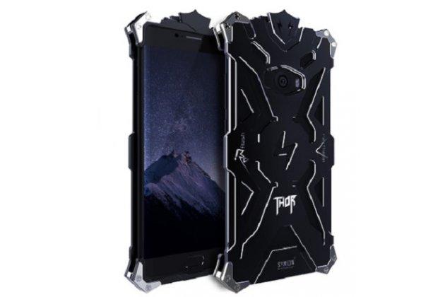 Противоударный металлический чехол-бампер из цельного куска металла с усиленной защитой углов и необычным экстремальным дизайном  для  Xiaomi Mi Note 2 черного цвета