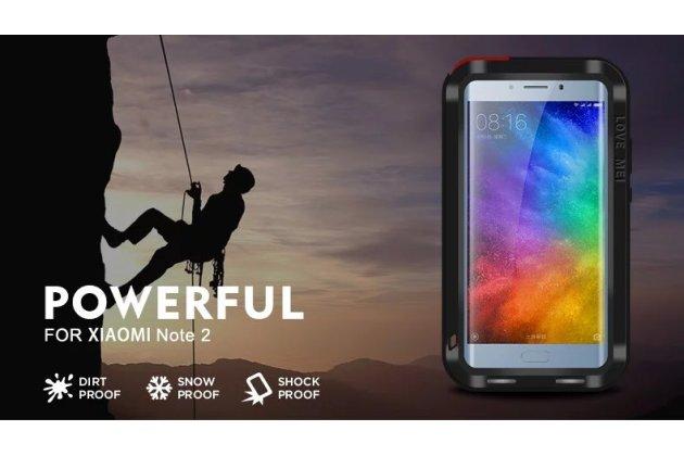 Неубиваемый водостойкий противоударный водонепроницаемый грязестойкий влагозащитный ударопрочный фирменный чехол-бампер для Xiaomi Mi Note 2 цельно-металлический со стеклом Gorilla Glass черный
