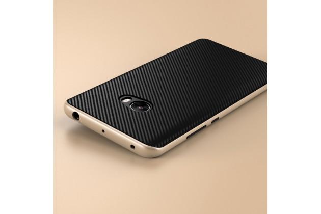 """Задняя панель-крышка из тончайшего мягкого силикона для Xiaomi Mi Note 2"""" с матовой отделкой """"под карбон"""" золото"""
