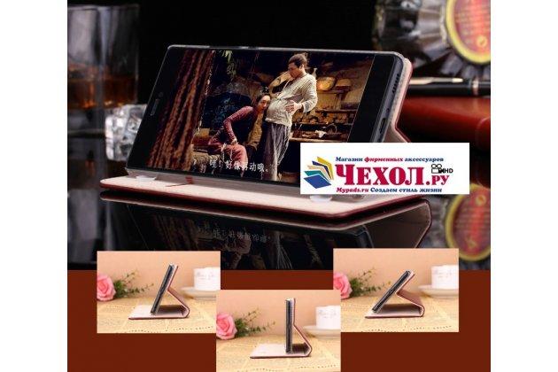 """Фирменный премиальный элитный чехол-книжка с логотипом из качественной импортной кожи с мульти-подставкой и визитницей для Xiaomi Mi 5S / Xiaomi Mi5s 5.15 """"Ретро"""" красное вино"""