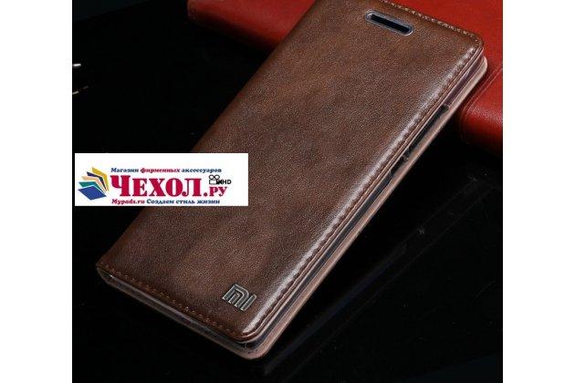 """Фирменный премиальный элитный чехол-книжка с логотипом из качественной импортной кожи с мульти-подставкой и визитницей для Xiaomi Mi 5S / Xiaomi Mi5s 5.15  """"Ретро"""" коричневый"""