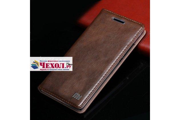 Фирменный чехол-книжка из качественной импортной кожи с мульти-подставкой и визитницей для Xiaomi Mi5s Plus 5.7 с логотипом темно-коричневый