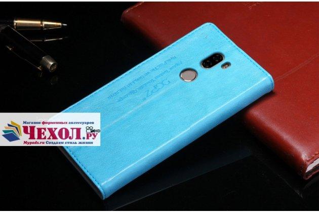 Фирменный чехол-книжка из качественной импортной кожи с мульти-подставкой и визитницей для Xiaomi Mi5s Plus 5.7 с логотипом голубой