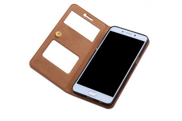 Фирменный чехол-книжка для Xiaomi Mi5s Plus 5.7 темно-коричневый с окошком для входящих вызовов и свайпом кожаный