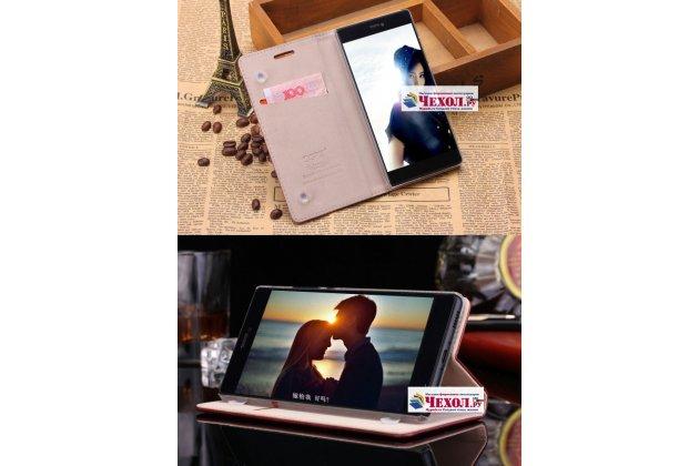 Фирменный чехол-книжка из качественной импортной кожи с мульти-подставкой и визитницей для Xiaomi Mi5s Plus 5.7 с логотипом светло-коричневый