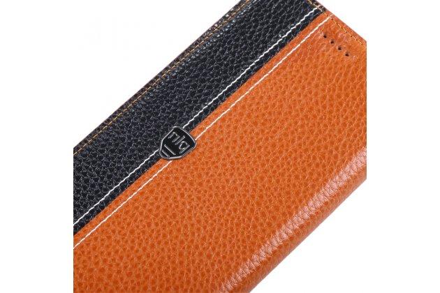 Фирменный чехол-книжка из качественной импортной кожи с мульти-подставкой и визитницей для Xiaomi Mi5s Plus 5.7 светло-коричневый