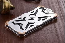 """Противоударный металлический чехол-бампер из цельного куска металла с усиленной защитой углов и необычным экстремальным дизайном  для Xiaomi Mi5s Plus"""" серебристого цвета"""