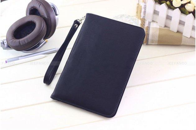Фирменный чехол бизнес класса для Xiaomi Mipad 2/3 с визитницей и держателем для руки черный натуральная кожа Prestige Италия