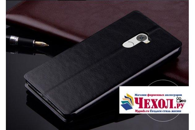 Фирменный чехол-книжка из качественной импортной кожи с подставкой застёжкой и визитницей для Xiaomi Redmi 4 2GB 16Gb/ Android 6.0 / 1280:720 / 5.0 / черный