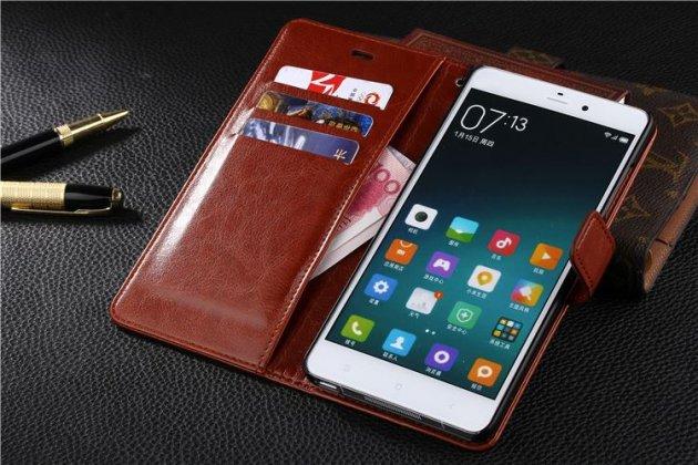 Фирменный чехол-книжка из качественной импортной кожи с подставкой застёжкой и визитницей для Xiaomi Redmi 4 2GB 16Gb/ Android 6.0 / 1280:720 / 5.0 / коричневый