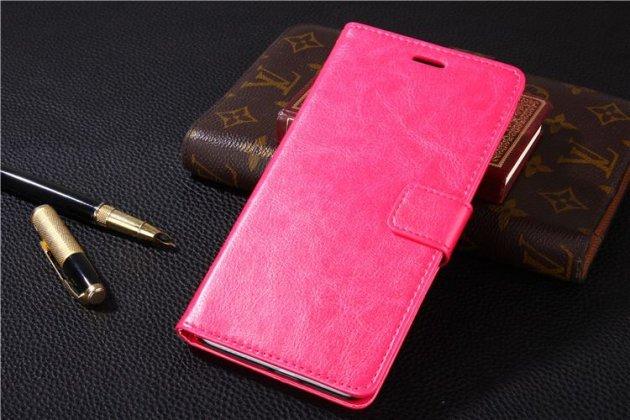 Фирменный чехол-книжка из качественной импортной кожи с подставкой застёжкой и визитницей для Xiaomi Redmi 4 2GB 16Gb/ Android 6.0 / 1280:720 / 5.0 / розовый