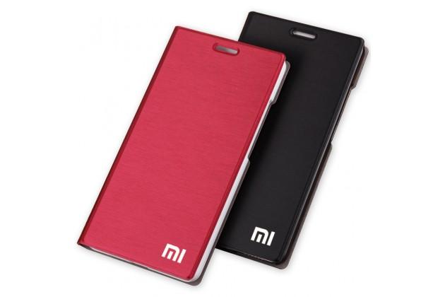Фирменный чехол-книжка с логотипом для Xiaomi Redmi 4 2GB 16Gb/ Android 6.0 / 1280:720 / 5.0 / водоотталкивающий с мульти-подставкой красный