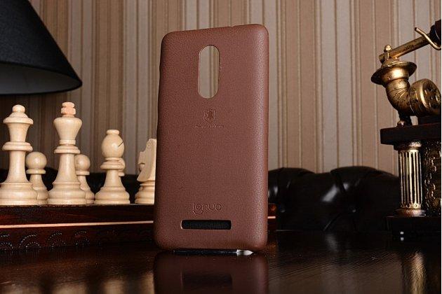 Фирменная премиальная элитная крышка-накладка на Xiaomi Redmi Note 3 Pro SE (Special Edition) / 152.5 мм / Android 6.0 коричневая из качественного силикона с дизайном под кожу