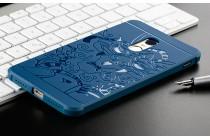 """Фирменная роскошная задняя панель-чехол-накладка с безумно красивым расписным рисунком на Xiaomi Redmi Note 4 """"тематика Китайский дракон"""" синяя"""