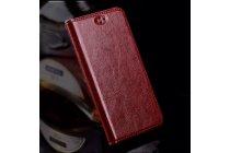 Фирменный премиальный чехол бизнес класса для Xiaomi Redmi Note 4 из качественной импортной кожи цвет Красное вино