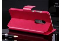 Фирменный чехол-книжка из качественной импортной кожи с подставкой застёжкой и визитницей для Xiaomi Redmi Note 4 розовый
