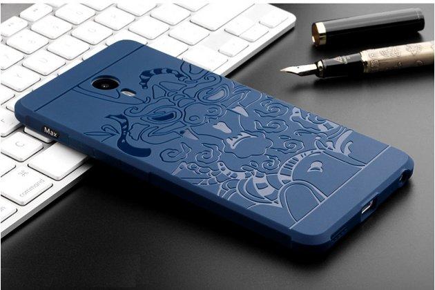 """Фирменная роскошная задняя панель-чехол-накладка с безумно красивым расписным рисунком на Meizu M3 Max """"тематика Китайский дракон"""" синяя"""