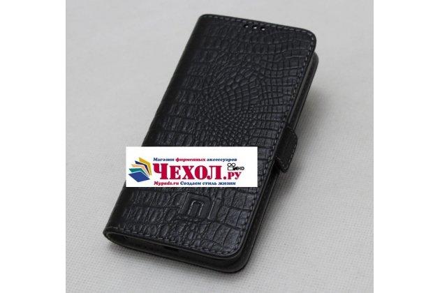 Фирменный роскошный эксклюзивный чехол с фактурной прошивкой рельефа кожи крокодила и визитницей черный для Xiaomi Redmi Note 4. Только в нашем магазине. Количество ограничено