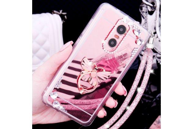 """Фирменная роскошная элитная силиконовая задняя панель-накладка украшенная стразами кристалликами и декорированная элементами для Xiaomi Redmi Note 4 """"тематика Бабочка""""розовая"""