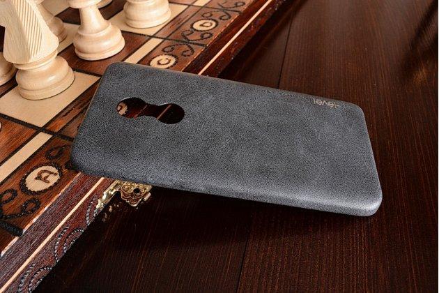 Фирменная премиальная элитная крышка-накладка из тончайшего прочного пластика и качественной импортной кожи  для Xiaomi Redmi Note 4 Ретро под старину черная