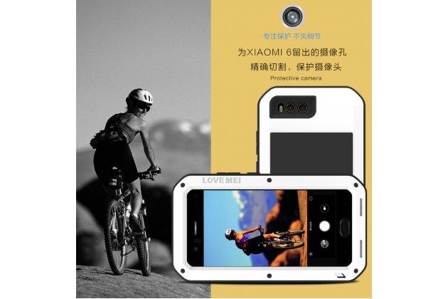 Неубиваемый водостойкий противоударный водонепроницаемый грязестойкий влагозащитный ударопрочный фирменный чехол-бампер для Xiaomi Mi 6 цельно-металлический со стеклом Gorilla Glass черный
