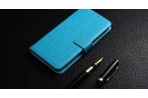 Фирменная роскошная элитная премиальная задняя панель-крышка для ZTE Blade L110 из качественной кожи буйвола с визитницей синий