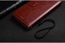 Фирменная роскошная элитная премиальная задняя панель-крышка для ZTE Blade L110 из качественной кожи буйвола с визитницей коричневый