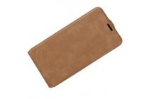 Фирменный оригинальный вертикальный откидной чехол-флип для ZTE Blade L110 коричневый из натуральной кожи Prestige Италия
