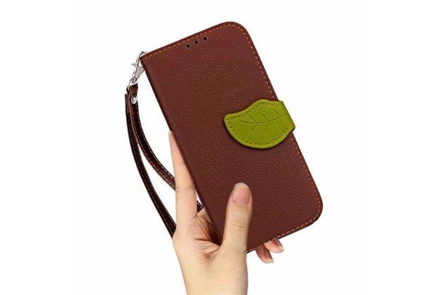 Фирменный чехол-футляр-книжка для ZTE Blade L110 коричневый кожаный
