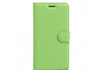 Фирменный чехол-книжка из качественной импортной кожи с подставкой застёжкой и визитницей для ZTE Blade L5 Plus / ZTE Blade L5 зеленый