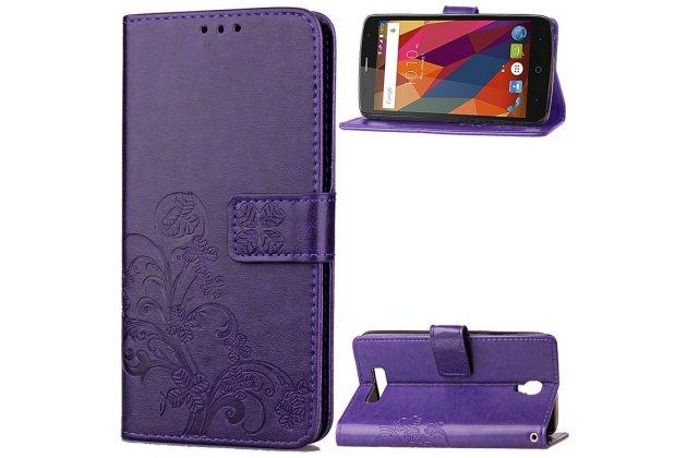 Фирменный чехол-книжка из качественной импортной кожи с мульти-подставкой застёжкой и визитницей для ZTE Blade L5 Plus / ZTE Blade L5 фиолетовый с рисунком