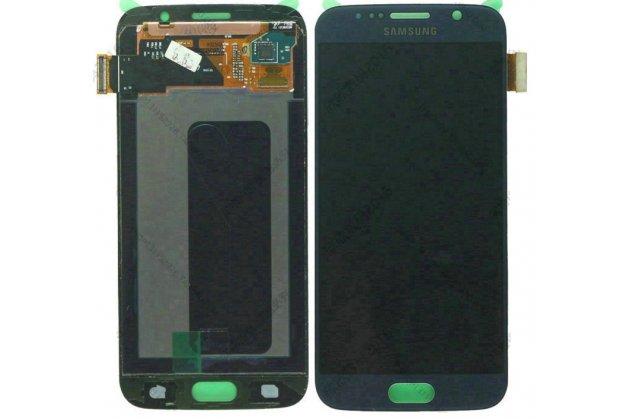 Фирменный LCD-ЖК-сенсорный дисплей-экран-стекло с тачскрином на телефон Samsung Galaxy S6 Edge синий + гарантия