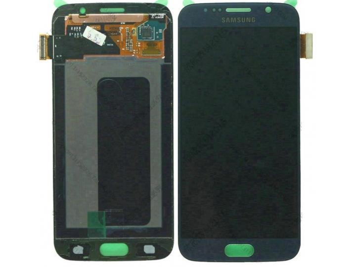 Фирменный LCD-ЖК-сенсорный дисплей-экран-стекло с тачскрином на телефон Samsung Galaxy S6 Edge синий + гаранти..