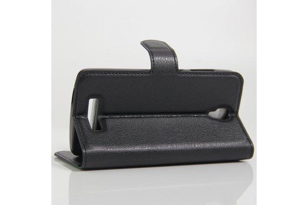 Фирменный чехол-книжка из качественной импортной кожи с подставкой застёжкой и визитницей для ZTE Blade L5 Plus / ZTE Blade L5 черный