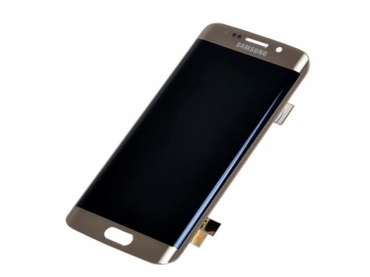 Фирменный LCD-ЖК-сенсорный дисплей-экран-стекло с тачскрином на телефон Samsung Galaxy S7 Edge золотой + гаран..